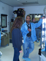 Jason Bridges and Nancy Murakami discussing something important while standing in the BAT lab.